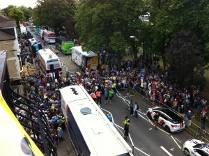 Mayhem outside the Coach and Horses (re-named Cvndsh and Horses in honour of Mark Cavendish)