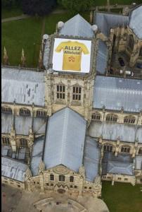 York Minster with 'Allez Alleluia' slogan on a giant t-shirt